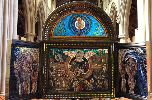 Portsmouth-based artist Pete Codling has created a mosaic depicting the achievements of St Jerome which is being displayed in St John's Catholic Cathedral. Pictured: The Angel Gabriel in the left panel addresses Mary in the right panel; New Testament scenes fill the centre panel