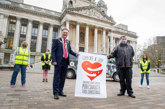 Launch of this the 2020 Comfort and Joy campaign. Pictured: Lord Mayor, Rob Wood and Father Bob White with Hive team, Sandie Davis, Katy Walsh and Caroline Haworthat the Portsmouth Guildhall Walk on 26 November 2020. Picture: Habibur Rahman