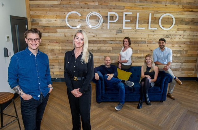 Copello Global Ltd are a specialist Defence and Engineering recruitment company based in Segensworth.  Pictured: Directors,  Russell Baker and Lisa Pinhorne with staff Alastair Koller, Kayleigh Mascia, Emma Homann and Joel Celestine  Picture: Habibur Rahman