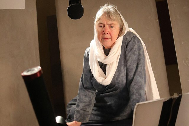 Zoe Skinner recording her monologue as Mary, the mother of Jesus
