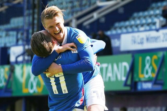 George Byers congratulates Ronan Curtis following his winner against Bristol Rovers