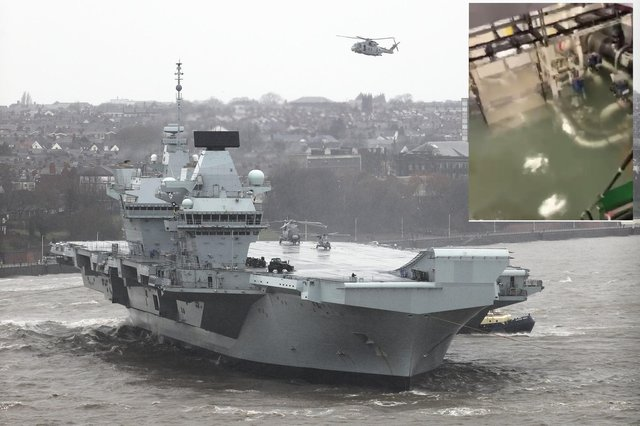 Символ Британии 2020. Авианосец без самолетов, который не может покинуть порт из-за воды.