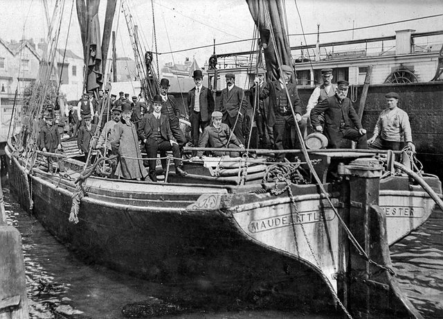 The telephone cable-laying boat at Gosport about 1905
