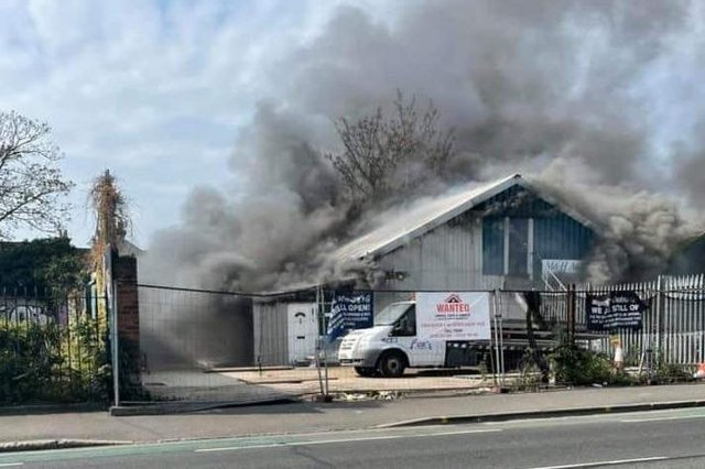 A fire has broken out in Goldsmith Avenue, Southsea in Portsmouth on April 28. Pictured is thick smoke billowing from M&H Auto Services in Goldsmith Avenue. Picture: Nigel McDonald