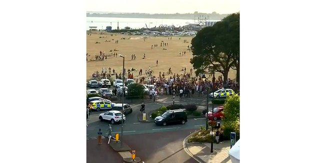 Pictured: Police attending a previous disturbance on Southsea Common on June 23, 2020 where a 17-year-old boy was arrested. Picture: Gethin Jones