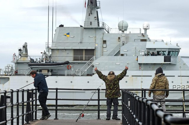 Fishermen in Portsmouth welcome back HMS Severn from her deployment to assist the fishermen of Jersey Picture: Solent News and Photo Agency