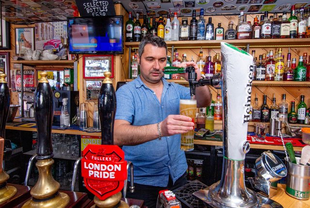 Tom Yaman, pub landlord of Duke of Devonshire is finding it hard to recruit people for his pub.Pictured: Tom Yaman at the Duke of Devonshire, Portsmouth on 7 May 2021Picture: Habibur Rahman