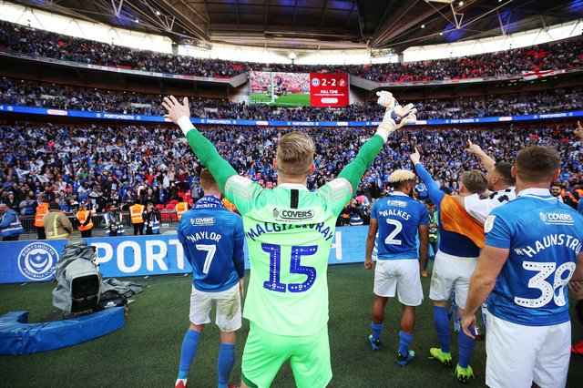Craig MacGillivray was Pompey's penalty hero as they triumphed in the Checkatrade Trophy at Wembley in March 2019. Picture: Joe Pepler