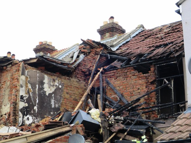 The destroyed home in Whale Island Way in Stamshaw, Portsmouth, on January 3 after a New Year's Day suspected gas explosion. Picture: Ben Fishwick