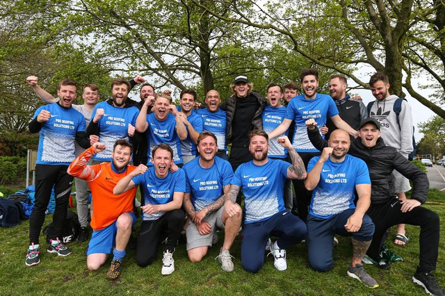 Milton Rovers celebrate winning the City of Portsmouth Sunday League Division 1 title after a 2-1 victory over AFC Southdowns at Farlington. Picture: Chris Moorhouse