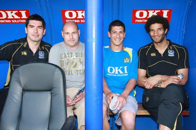 Richard Hughes, left, and David James, right, with a couple of fans. Picture: Faz Ahmed