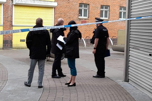Detectives were on the scene after the victim was rushed to hospital. Picture: David George