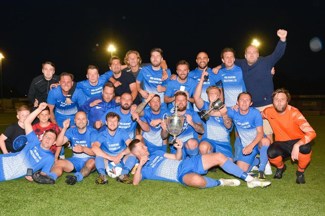 Milton Rovers celebrate winning the PDFA Victory Cup final. Picture: Martyn White