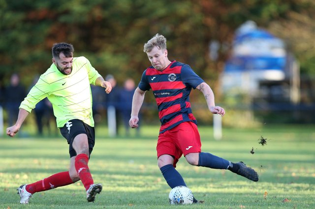 Jay Eames, right, in action for Paulsgrove against Bush Hill in December. HPL clubs will be told on Friday the proposal(s) for finishing the 2020/21 campaign. Picture: Chris Moorhouse