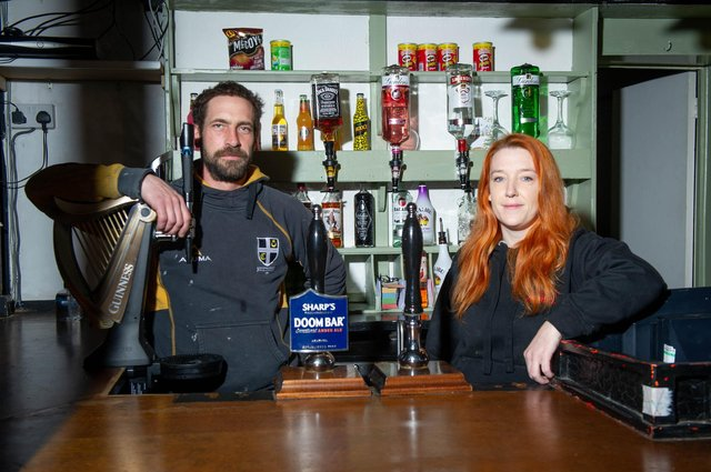 Chrissy Sloan, who took over the Milton Arms in September 2020 for Love your Local.Pictured: Christine Sloan with her partner, Dan Smith at the Milton Arms, Portsmouth on 3 February 2021.Picture: Habibur Rahman