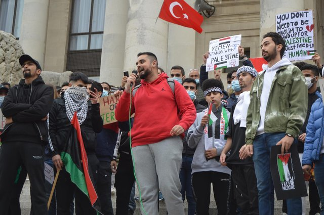 Anass Khalil speaking at the pro-Palestine protest in Guildhall Square, Portsmouth. Picture: David George