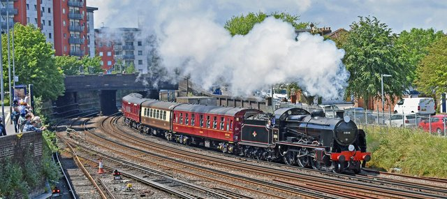 Steam special. 31806 `U` class Maunsell loco hauls the Father`s Day excursion to Brockenhurst and return, seen approaching Fratton Station on Sunday 20th June. This lovely shot taken by Graham Stevens