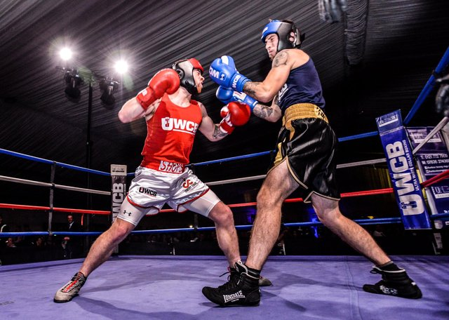 Pictured:   Contestants at a previous Ultra White Collar Boxing event.UWCB/Ultra White Collar Boxing