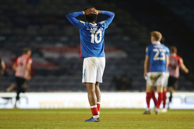 Ellis Harrison can't believe it as Sunderland take the lead against Pompey in March 2021. It could prove to be his final Blues match. Picture: Joe Pepler