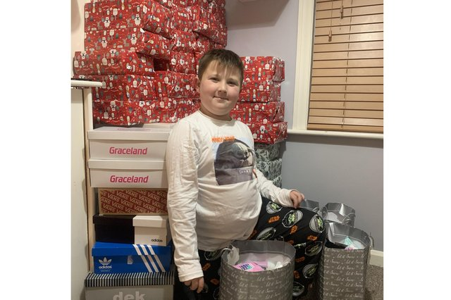 Albie Leahy, 8 from Waterlooville, has created shoeboxes for the homeless people of Portsmouth to enjoy this Christmas