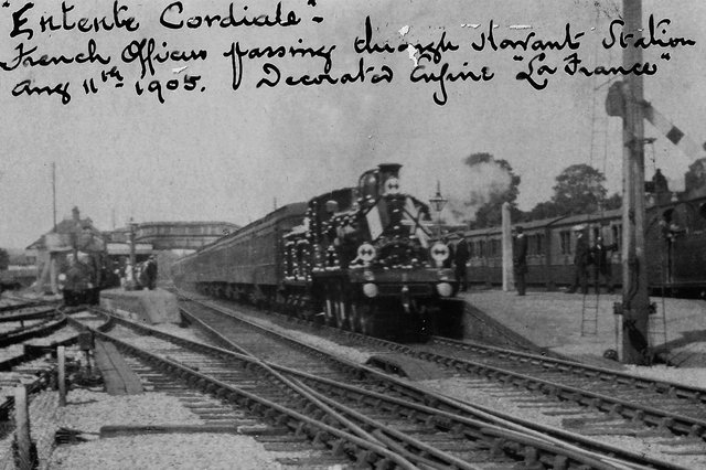 Entente Cordiale. In 1905 the French Fleet visited and officers travelled to London in a specially decorated train. Picture: Barry Cox postcard collection
