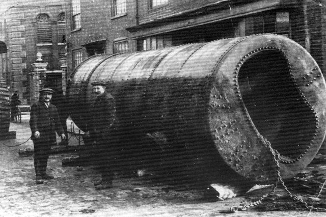 A huge boiler being pulled through the gates of Long's Brewery in Hambrook Street, Southsea. Boiler explosions were a regular occurrence in earlier times and Long's suffered a heavy boiler blow-out in March 1870 which killed two brewery workers and a dray horse.