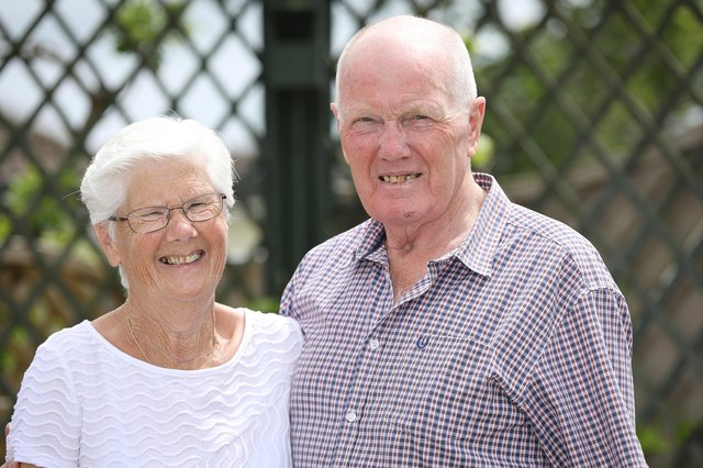 Rita  and John Porter are celebrating the end of a 13 month dispute with Staysure Insurance after they called on Streetwise to settle a claim resulting from the sudden introduction of lockdown restrictions at their rented Spanish holiday home. They are pictured in their garden in Waterloovile Picture: Chris Moorhouse