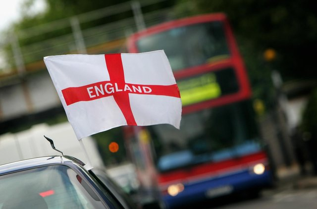 England flag on a car  (Photo by Daniel Berehulak/Getty Images)