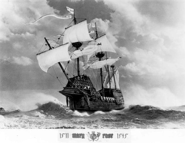 A fantastic illustration of the Royal Navy Flagship The Mary Rose at sea