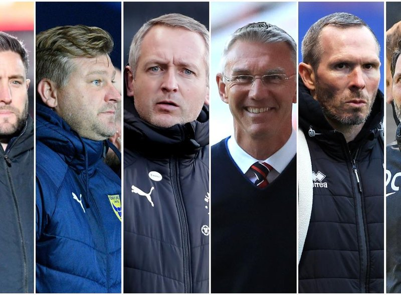 The managers involved in the play-off picture (from left) Sunderland's Lee Johnnson, Oxford United's Karl Robinson, Blackpool's Neil Critchely, Charlton's Nigel Adkins, Lincoln's Michael Appleton and Pompey's Danny Cowley