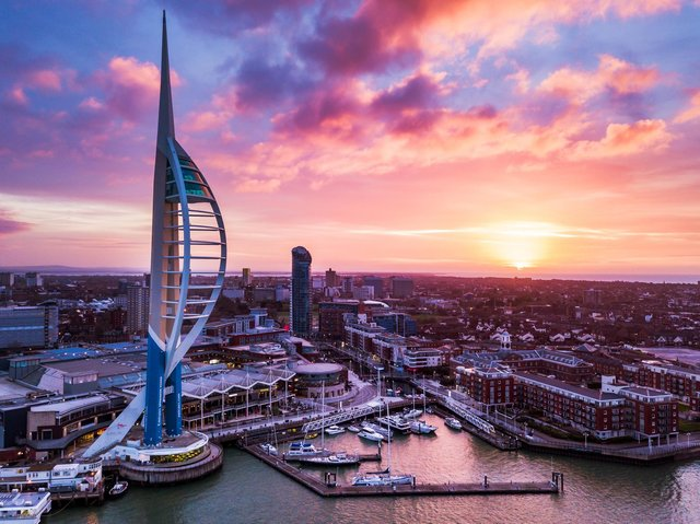 The Spinnaker Tower during sunrise