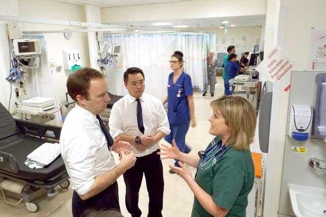 Alan Mak MP with the Health Secretary Matt Hancock at Queen Alexandra Hospital, Cosham.
