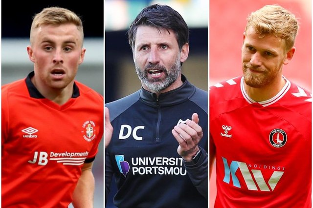 Danny Cowley, centre, is interested in bringing Joe Morrell, left, and Jayden Stockley to Pompey.