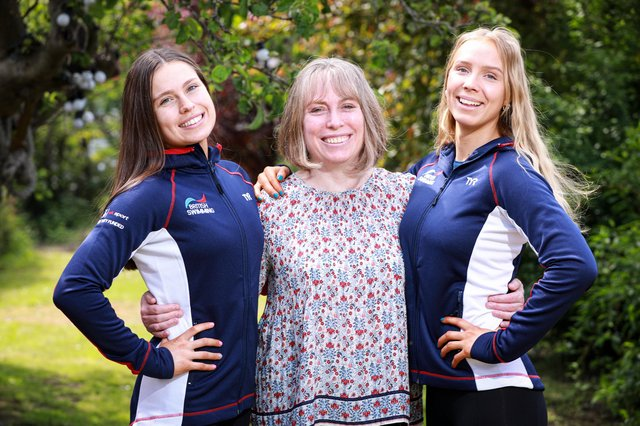 From left - Daisy Gunn, 18, her mother Alison Gunn, and Laura Turberville, 18. Daisy and Laura have just competed in  the Senior European Championships for artistic swimming, in Budapest.  Picture: Chris Moorhouse