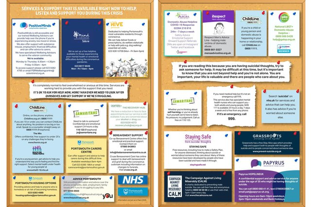 Portsmouth Mental Health Alliance and the contact card for people seeking mental health support.