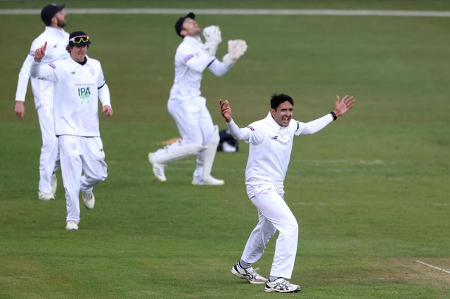 Mohammad Abbas appeals for a wicket during day two of the LV= Insurance County Championship match between Leicestershire and Hampshire at Grace Road. Photo by Alex Pantling/Getty Images.