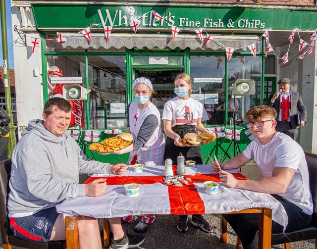Whistler's staff with competitors Andrew Halliday and Vinny Murphy. Picture: Habibur Rahman