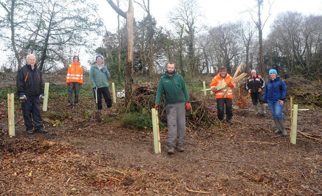 Horndean Parish Council and volunteers from the local area were replanting trees at Catherington Lith Local Nature Reserve after a felling operation to remove trees suffering from Ash Dieback in 2020.Pictured is: (l-r) Paul Luff, Max Emery, Dave Noble, Matt Madill, Derek Barham, Garry Marshall and Julie Wells.Picture: Sarah Standing (160221-3043)