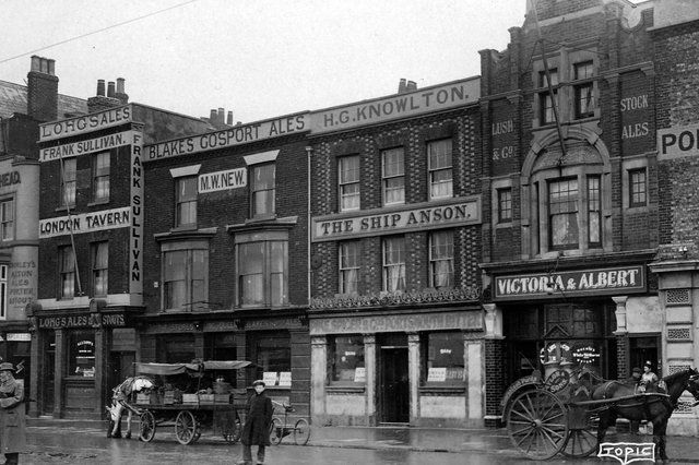 Five pubs in a row on The Hard, Portsmouth, circa 1910. A pub crawl within 100 yards. Picture: Robert James collection.