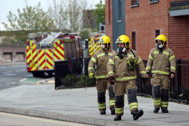 Firefighters. Fire in Goldsmiths Ave, SouthseaPicture: Chris Moorhouse (jpns 280421-20)
