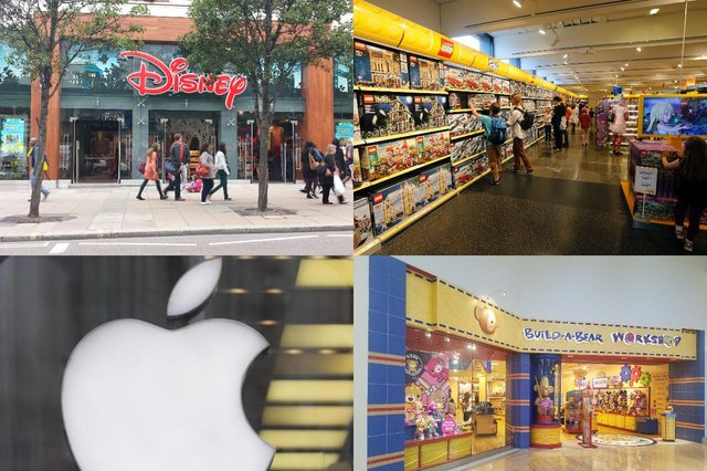 A collage of four of the 10 big-name shops our readers said they would love to come to Portsmouth. Top row, from left, Disney and Lego and, bottom row, from left, Apple and Build-A-Bear Workshop.