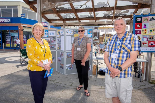 Waterlooville U3A celebrates National U3A Day on June 2. U3A Committee members, Heather Leach, Jo Derham and Kevin Stock at the Bandstand, Waterlooville. Picture: Habibur Rahman