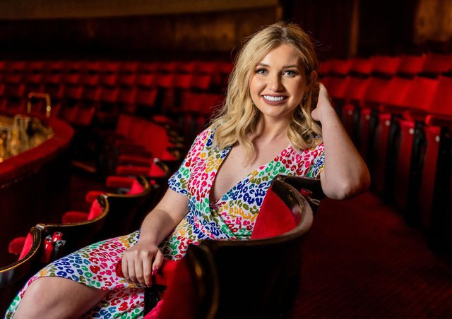 Love Island star Amy Hart in the dress circle of The Kings Theatre. Picture by Andrew Searle.