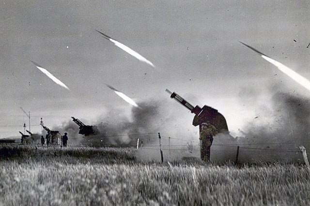 A rocket battery on Southsea Common during the Second World War.