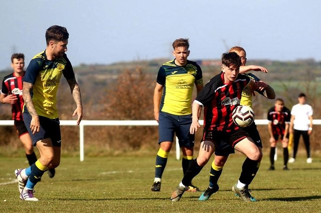 Moneyfields Reserves (yellow) defeated Fleetlands at Lederle Lane in the post-lockdown subsidiary cup tournament. Picture: Tom Phillips