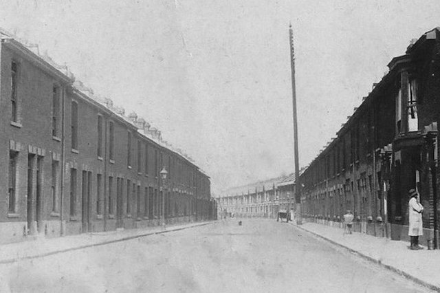 A marvellous view looking west along Newcomen Road, Stamshaw, about 1920. Any idea what the enormous pole was for? Picture: David Gardener collection.