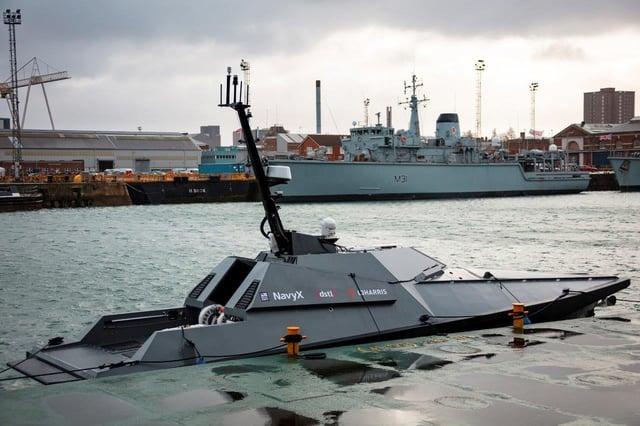 The Madfox autonomous boat pictured leaving Portsmouth Harbour. Photo: Royal Navy