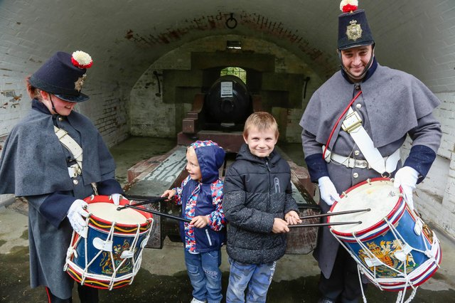 Kason (5) and Marc Jr Lovlock (8) on the drums of Tamsin Coster and Scott Taylor of The Fort Cumberland Guard.