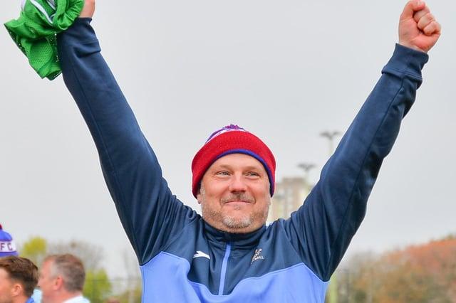 Glenn Turnbull celebrates US Portsmouth's FA Vase quarter-final win against Flackwell Heath. Picture: Martyn White