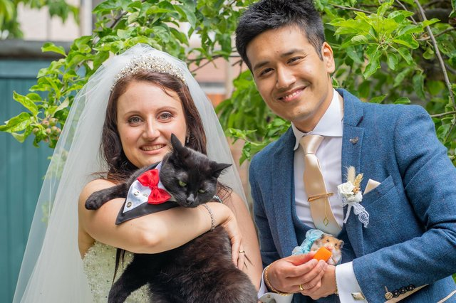 Shrijan and Asya with their cat Suzan and hamster Gus-Gus. Pictures: Carla Mortimer Wedding Photography, carlamortimerweddingphotography.co.uk